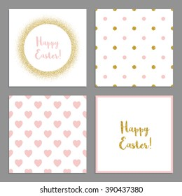 Vector cute easter set of square cards with golden glitter decor. Golden glitter circle frame. Includes two seamless patterns as backgrounds.