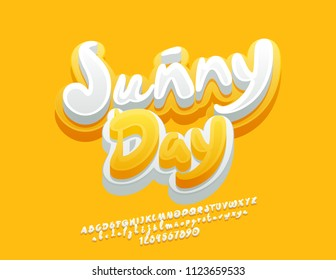 Vector cute Emblem Sunny Day. Handwritten Yellow and White Font. 3D funny Alphabet Letters, Numbers and Symbols