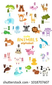 Vector of Cute english alphabet:A-Z with cute cartoon animals isolated. Vector illustration for kids education, foreign language study.