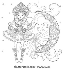 Vector cute fairy gothic lolita girl in nice dress.Vector line illustration.Sketch for postcard or print or coloring adult book.Boho style half moon.