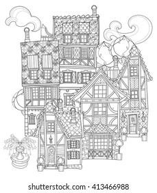 Vector cute fairy tale town doodle.Vector line illustration.Sketch for postcard or print or coloring adult book.Boho zentangle style.