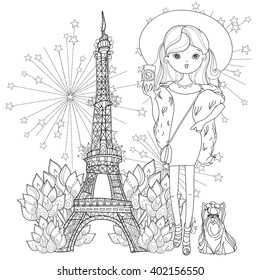 Vector cute fashion girl with dog in Paris.Vector line illustration.Sketch for postcard or print or coloring adult book.Hand drawn boho free style doodle.