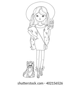 Vector cute fashion girl with dog.Vector line illustration.Sketch for postcard or print or coloring adult book.Hand drawn free style doodle.