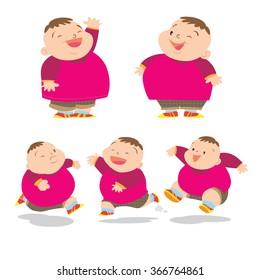 Vector of Cute fat boy cartoon character many action.