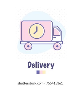 Vector cute flat outlined icon of delivery shipping van