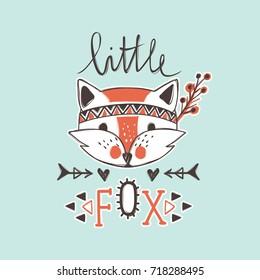 Vector cute fox. Cartoon style. Tribal animals portrait. Doodle illustration.