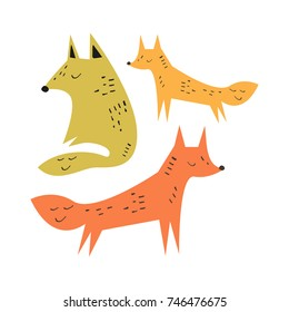 Vector cute foxes, family. Poster, postcard, sticker, print, illustration, elements for design and other.