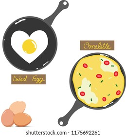 Vector - Cute Fried egg and Omelet (Omelette, Scrambled) in black iron pan isolated on white background. Can be use decorate for menu, paper, web, advertising, icon, brochure.