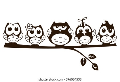 vector cute funny group of owl in cartoon illustration sitting above a branch