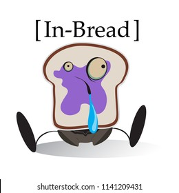 Vector Cute Funny Toast Bread and Jelly Character Icon T-shirt Design for Laughs
