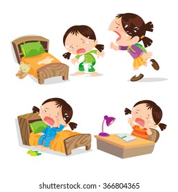 Vector of Cute girl cartoon crying  many action on events. illustration cartoon isolated