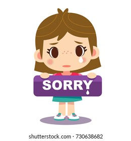 Vector cute girl character holding a sign with message sorry isolated on white background.