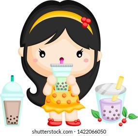 a vector of a cute girl drinking bubble tea