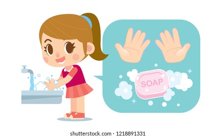 Vector cute girl washing hands with soap and hands icon