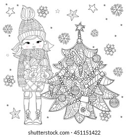 Vector cute girl in winter hat with christmas gift and fir tree.Vector line illustration.Sketch for postcard or print or coloring adult book.Boho zen art style.
