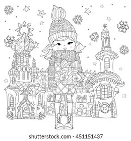 Vector cute girl in winter hat with christmas gift in fairy town.Vector line illustration.Sketch for postcard or print or coloring adult book.Boho zen art style.