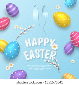 Vector cute greeting card with paper-cut ears of bunny, camomiles and pussy willow on blue background. Festive template with paper text Happy Easter and colored 3D realistic eggs for holiday postcard