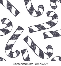 Vector cute hand drawing Christmas and New year candy cane seamless pattern background
