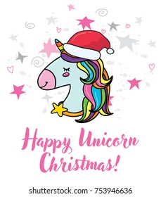 Vector cute hand drawn doodle hipster trendy magic unicorn with Santa red hat. Christmas greeting card print