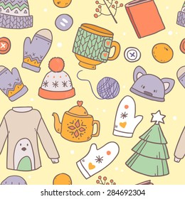 Vector cute hand drawn seamless pattern with winter elements of clothes and other cozy warm stuff for girls