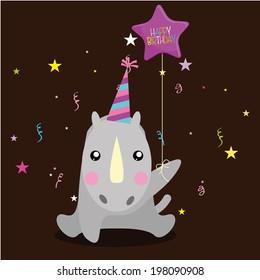 Vector Cute Happy Birthday Card Template Editable