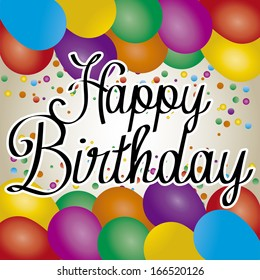 Vector Cute Happy Birthday Greeting Card With Text