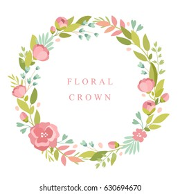 Vector cute illustration. Green plants and flower frame, wreath, flower crown, botany, leaves, flowers. Place for your text.