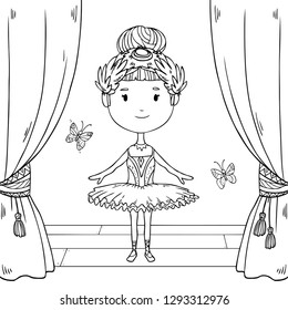 Vector cute illustration of a happy little  ballerina on stage on white background for coloring art