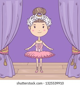 Vector cute illustration of a happy little  ballerina on stage