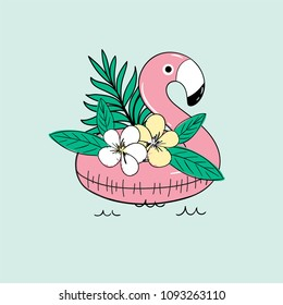 Vector cute illustration of  inflatable flamingo for sea, swimming pool ring,  tube, float with exotic jungle palm tree flower, isolated on empty green background drawn with tablet, sketch imitation