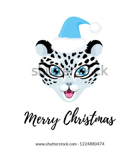 7fae51a9feef6 Vector cute illustration with muzzle of smiling snow leopard in santa hat.  Cartoon character.
