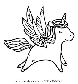 Vector cute illustration with running pegasus in the sky isolated on white background