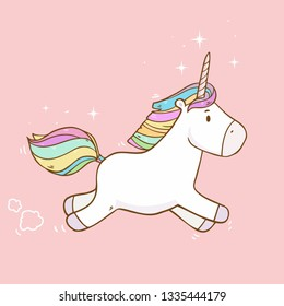 Vector cute illustration with running unicorn in the sky on pink background