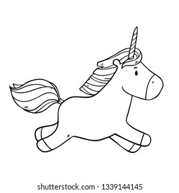 Vector cute illustration with running unicorn in the sky on white background