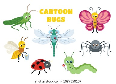 Vector cute insect collection. Butterfly, dragonfly, spider, ladybug, caterpillar, bee, grasshopper. Funny bug and beetle isolated on white background