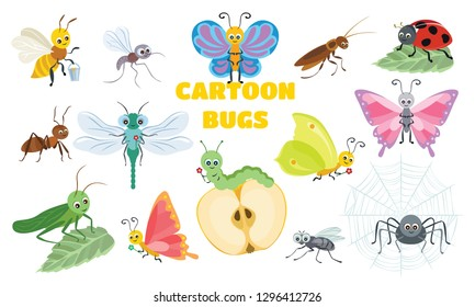 Vector cute insect collection. Butterfly, dragonfly, spider, ladybug, caterpillar, bee, ant, mosquito, cockroach, fly, grasshopper. Funny bug and beetle isolated on white background