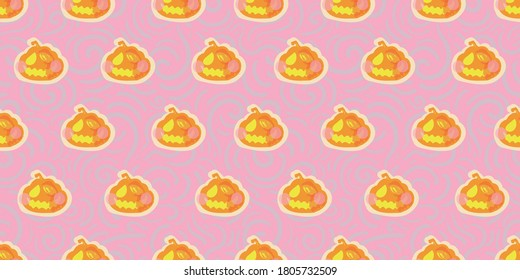 Vector cute kawaii halloween pumpkin seamless pattern. Hand drawn textured pink design. Food, packaging, surface design. Modern brush design. Perfect for your creepy girly party.