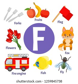 Vector cute kids animal alphabet. Letter F. Set of cute cartoon illustrations.