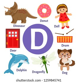 Vector cute kids animal alphabet. Letter D. Set of cute cartoon illustrations.