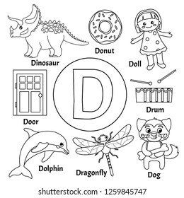 Vector cute kids animal alphabet. Letter D. Set of cute cartoon illustrations. Coloring page.