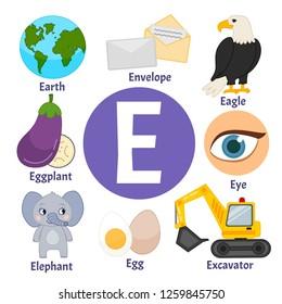 Vector cute kids animal alphabet. Letter E. Set of cute cartoon illustrations.
