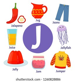 Vector cute kids animal alphabet. Letter J. Set of cute cartoon illustrations.