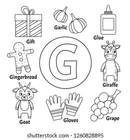Vector cute kids animal alphabet. Letter G. Set of cute cartoon illustrations. Coloring page.