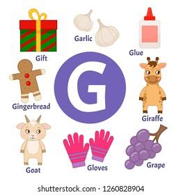 Vector cute kids animal alphabet. Letter G. Set of cute cartoon illustrations.