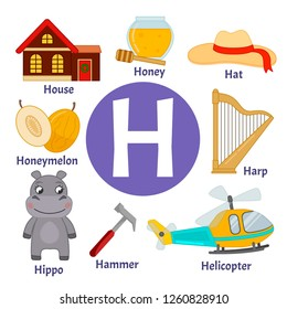 Vector cute kids animal alphabet. Letter H. Set of cute cartoon illustrations.