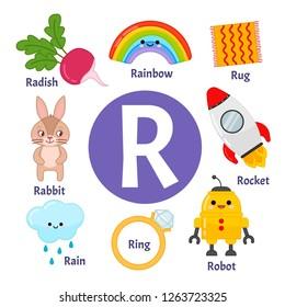 Vector cute kids animal alphabet. Letter R. Set of cute cartoon illustrations.