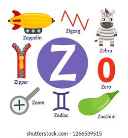 Vector cute kids animal alphabet. Letter Z. Set of cute cartoon illustrations.