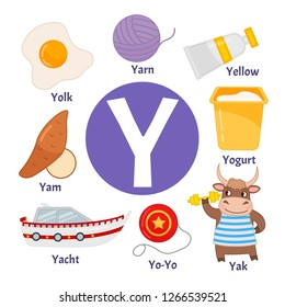 Vector cute kids animal alphabet. Letter Y. Set of cute cartoon illustrations.