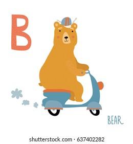 Vector cute kids animal alphabet. Letter B for the Bear