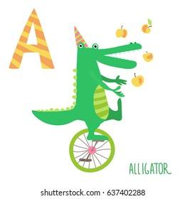 Vector cute kids animal alphabet. Letter A for the Alligator